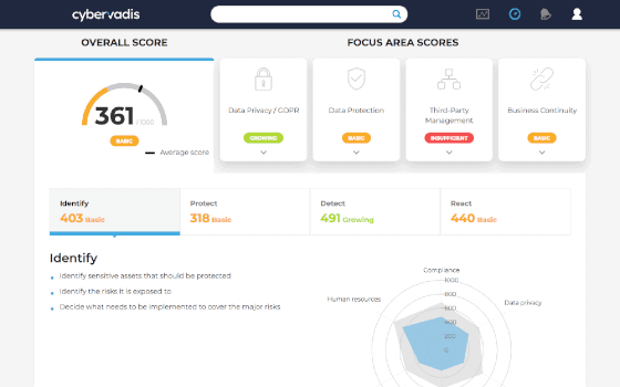Cybervadis Platform preview - overall score